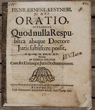 1715 Jura Doktortitel Kestner Oratio Rinteln