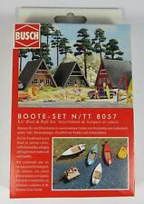 BNIB N BUSCH 8057 SMALL BOAT SET - RIVER BOATS - BOAT TRAILER - MODEL RAILWAY