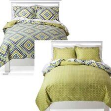 Room Essentials REVERSIBLE Twin Size Modern Chevron Duvet Set NEW Green/Blue