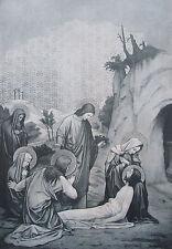 Sigmung Rudl GRABLEGUNG Altargemälde Originaldruck aus 1899 Religion old print