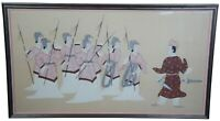 """Vintage Oriental Hand Painted Silk Warrior Samurai Training Scene Artwork 48"""""""