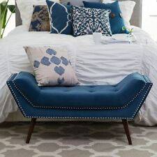 Bed Bench End of Foot Upholstered Tufted Button Nailhead Bedroom Entryway Blue