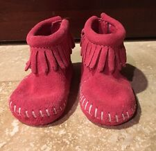 New Baby Girl Pink Suede /Leather MINNIETONKA Moccasins Size Birth-1 Month
