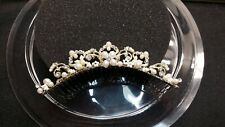 Davids Bridal Headpiece Gold Scroll Comb with Pearls and Crystals