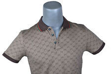 Gucci Mens Polo Shirt Top Brown Color with GG Print Size Large