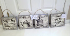 """NWT Set of 4 French Country Kitchen 8""""x8"""" Canvas Art Prints Wall Decor & Hangers"""
