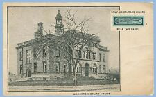 VINTAGE - BROCKTON, MA COURT HOUSE - UNION CIGAR LABEL - POSTCARD - UNUSED