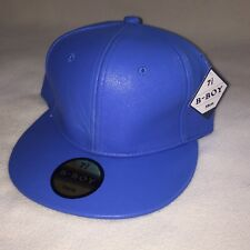 New B-Boy Mens Fitted Hat Size 7 3/8 Flat Bill Light Blue Leather Material 59 cm