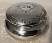 Vntg Apollo Silver Co Quadruple Plate Vanity Powder Dresser Trinket Box Monogram