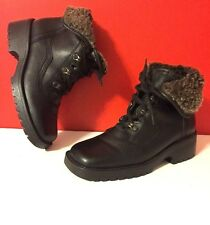 BARBO Sylvie III Ankle Boots Black Leather Sz 7 M Shoes Fleece Lined Portugal