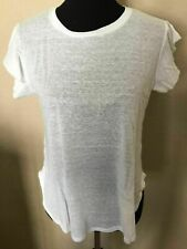 NWT $93 C&C California White Top Lynette Cap Sleeve Tee Round Hem US Made L