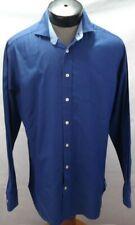 Hackett London men L solid blue slim fit long sleeve button up cotton shirt