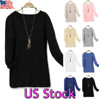 Women's Casual V-Neck Long Sleeve Oversized Tunic Top Sweatshirts Sweater S~5XL