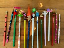 Vtg 80s Pencil Lot with Toppers Ghostbusters Troll Flocked Wuzzles more New 14
