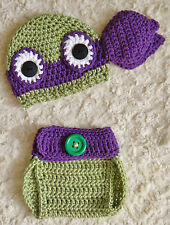 Newborn TMNT Inspired Ninja Turtles Purple Donatello Crochet Baby Set