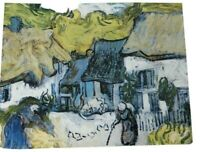 postcard vintage vincent van gogh thatched roofs auvers 1890 people house
