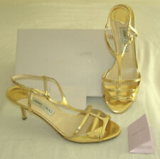 JIMMY CHOO METTALIC GOLD STRAPY HIGH HEELS w/MIRROR FINISH LEATHER+BOX-AUTHENTIC