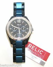 RELIC BLACK ACRYLIC+BLUE ALUMINUM MULTI-FUNC DIAL WOMEN WATCH+CRYSTAL ZR15621