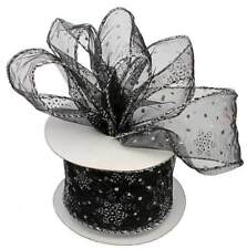 Black Organza Silver Snowflakes Wired Ribbon Wedding