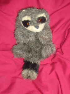 "Folkmanis Plush 8"" Furry Folk Hand Puppet Gray Raccoon"