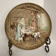 Vtg Homco Home Interior Nativity Collectors Plate 5102, Raised Relief, Christmas