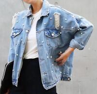 Y24 women PUNK Bead Holes pearl denim loose denim jacket coat trench outwear