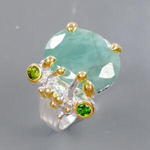 Vintage SET Emerald Ring Silver 925 Sterling  Size 8.25 /R178927