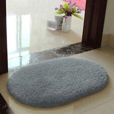 Gray Oval Absorbent Soft Fluffy Door Mat Rug Floor Cover Pad Nonslip Carpet