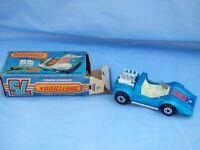 1975 Matchbox Superfast 55 Hellraiser Pop Out Engine Blue Car Toy Box White Seat