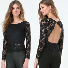 BEBE BLACK LACE SCALLOP OPEN BACK TOP BLOUSE NEW $79 SMALL S 6