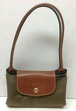 Longchamp Le Pliage Shopping Small Tote Shoulder Bag Purse Long Handle Khaki