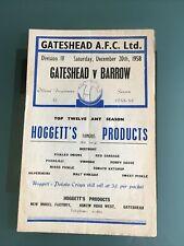 More details for gateshead v barrow 20th december 1958 division four