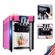 New 3 flavors Soft ice cream making machine Desktop automatic drum Commercial