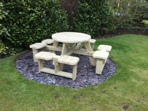 Heavy Duty Round Garden Picnic Table / Pub Bench Seats 8 *NO Self Assembly*