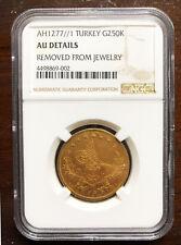 TURKEY-ABDUL AZIZ-GOLD 250 KURUSH 1861(1277/1)KM#697 NGC -AU