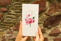 Crafted Gift Postcard With Linen Rose Wedding Love Gift Leaflet