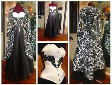 Wedding dress & corset, coat, skirt, pin-up, retro, damask, black white, 4 piece