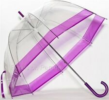 TOTES BUBBLE CLEAR DOME MANUAL WITH PURPLE TRIM UMBRELLA NWT