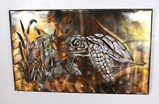 Metal Wall Art Canvas Swimming Turtle  Metal Art