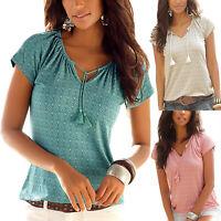 Womens Summer Boho V-Neck Short Sleeve T-Shirts Ladies Tee Casual Tops Blouse US