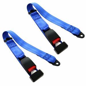 2X Fit DXXge 2 Point Harness Safety Belt Seat Belt Adjustable Blue Universal