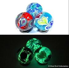 Set of 3 x 22mm Glow In The Dark Glass Toy Marbles - Handmade Marble Collectors