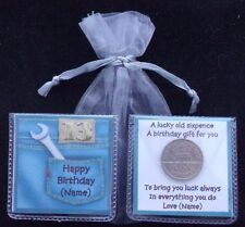 PERSONALISED LUCKY SIXPENCE MENS 13 16 18 21 30 40 50 65 80 90 BIRTHDAY GIFT
