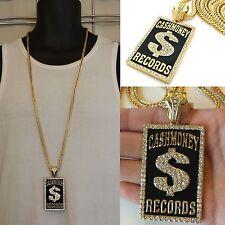 MENS NEW HIP HOP GOLD CASH MONEY RECORDS PENDANT FRANCO CHAIN NECKLACE