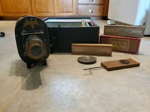 Antique Magic Lantern In Ernst Plank EP Slide Projector Box With Slides