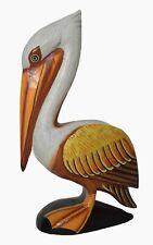 Hand Carved Pelican Ocean Bird Wood Sculpture Cottage Fish Tropical Island Art