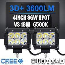2x 4INCH 36W CREE LED WORK LIGHT BAR SPOT BEAM DRIVING JEEP TRUCK SUV ATV 6500K