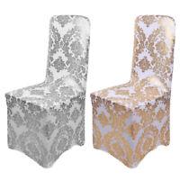 1-100Pcs Wedding Bronzing Chair Cover Elastic Spandex Banquet Hotel Home Supply