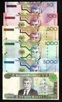 TURKMENISTAN 6 PCS UNC SET 50 100 500 1000 5000 10000 MANAT 2005 P-16 to P-21