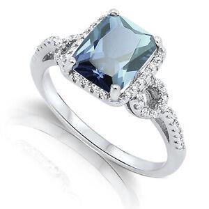 Large Emerald Aquamarine CZ Silver Ring Size 4 - 12